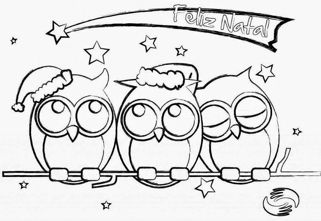 desenho de natal para pintar corujinhas