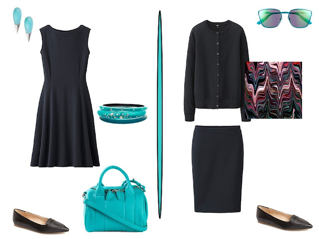 two simple black outfits with aqua accessories