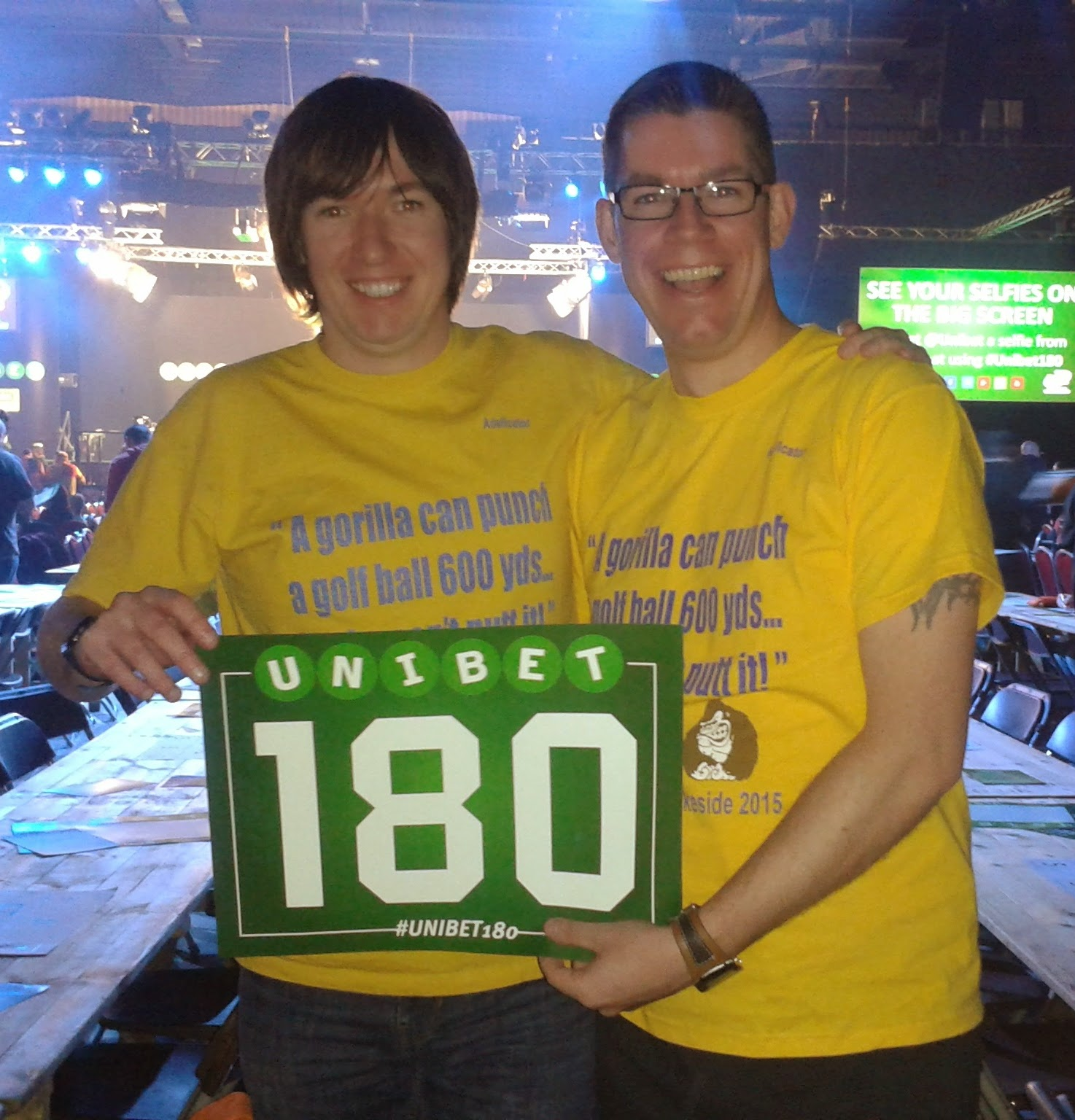 Marc 'The Roller' Bazeley and 'Squire' Richard Gottfried - Two of the Sajwani Army on manoeuvres at the PDC Unibet Darts Masters in Milton Keynes