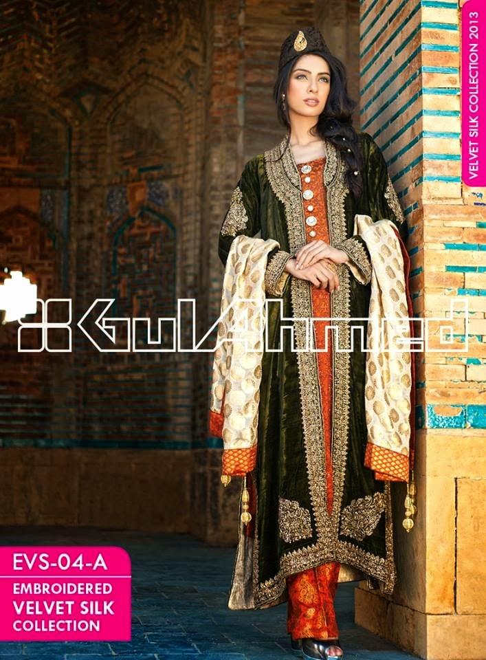 GulAhmedEmbroideredSilkVelvetCoats wwwfashionhuntworldblogspotcom 007 - Gul Ahmed Embroidered Silk Velvet Coats 2014
