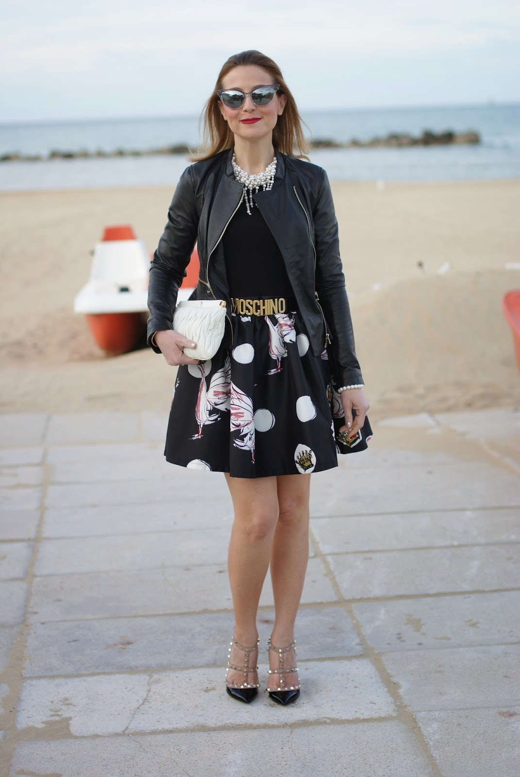 Zaful dress, Polka dots dress, a-line Zaful dress with Valentino rockstud pumps on Fashion and Cookies fashion blog
