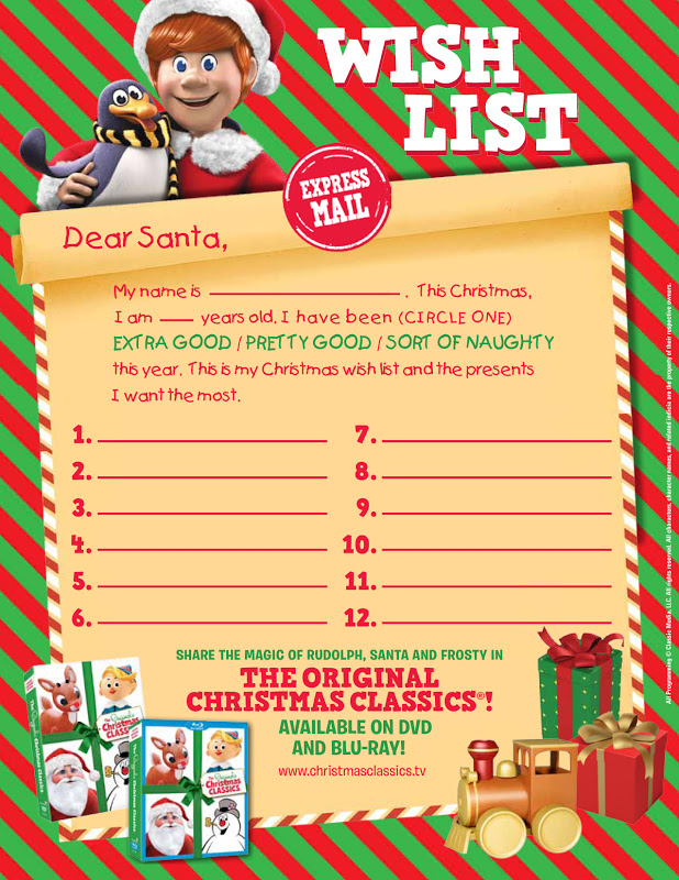 Printable Santa Wish List Thrifty Nifty Mommy