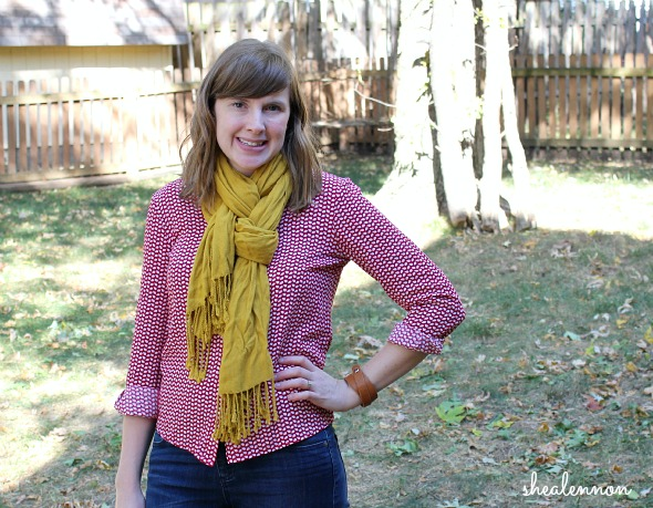 red print blouse with mustard yellow scarf | www.shealennon.com