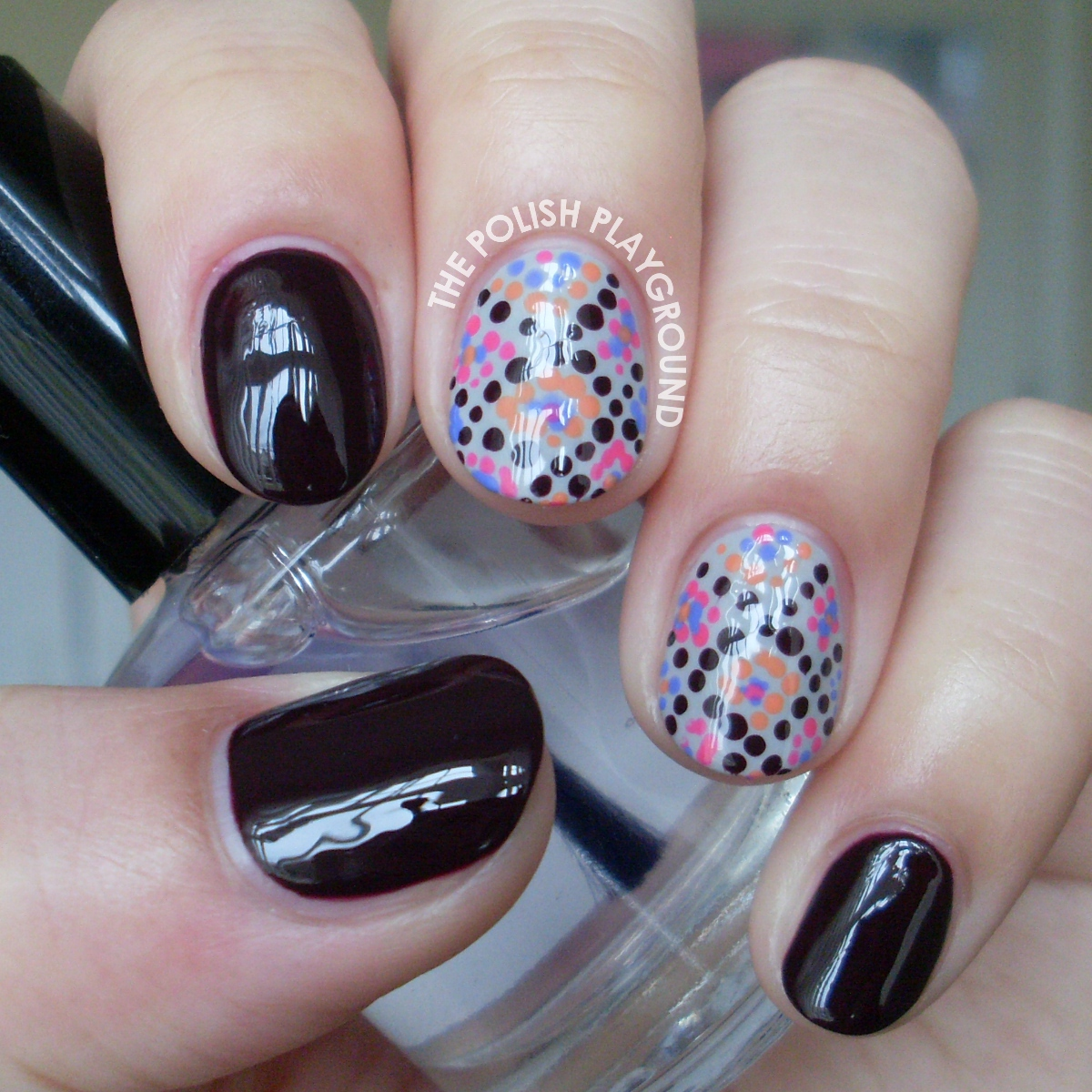 Diamond Pattern Dots Nail Art