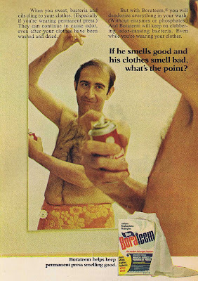 A man applying spray deodorant from 1971 Good Housekeeping ad for Borateem.