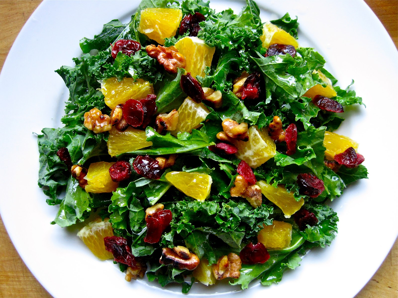 ... ...on a budget: Orange Kale Salad with Honey-Lime Vinaigrette