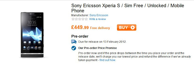 Sony Xperia S delayed in the UK until February
