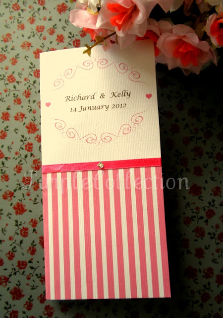 Pink Stripes Wedding Invitation Card, wedding invitation card, pink invitation card, pink wedding card, pink stripes