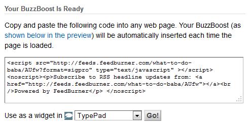 feedburner coding for recent posts widget