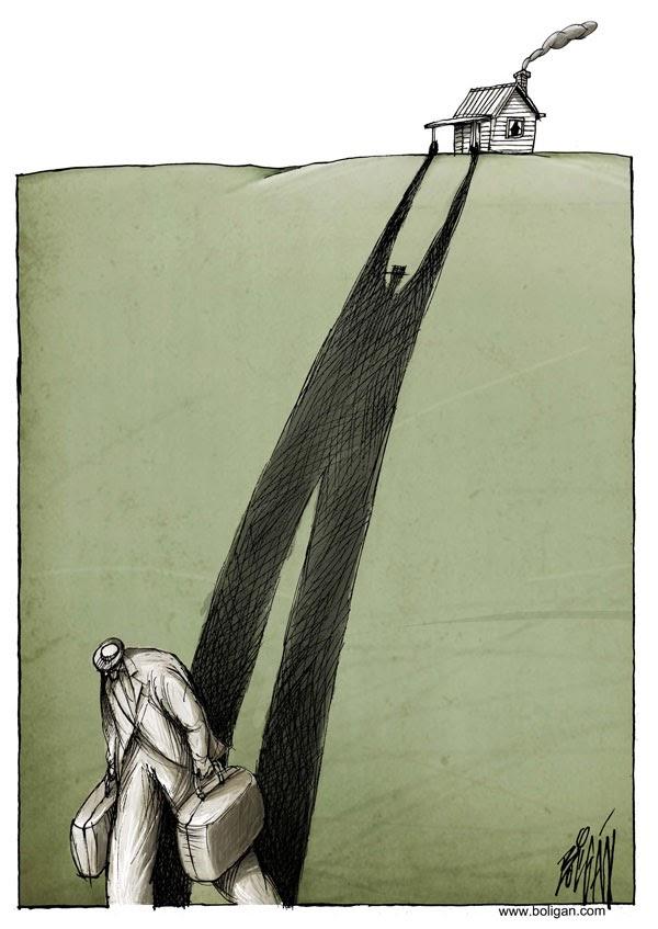 کاریکاتور ، کارتون ، مهاجرت ، کوچ ، وطن ، خانه ، میهن ، سرزمین ، زادگاه ،