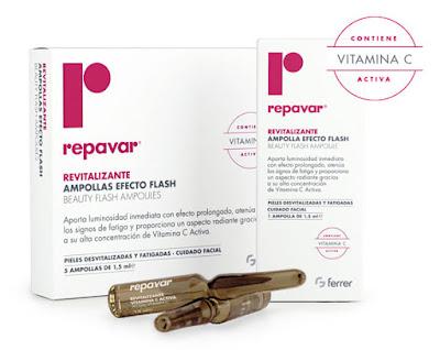 Las ampollas flash REPAVAR REVITALIZANTES tienen efecto lifting inmediato, atenúan los signos de fatiga proporcionando firmeza y luminosidad