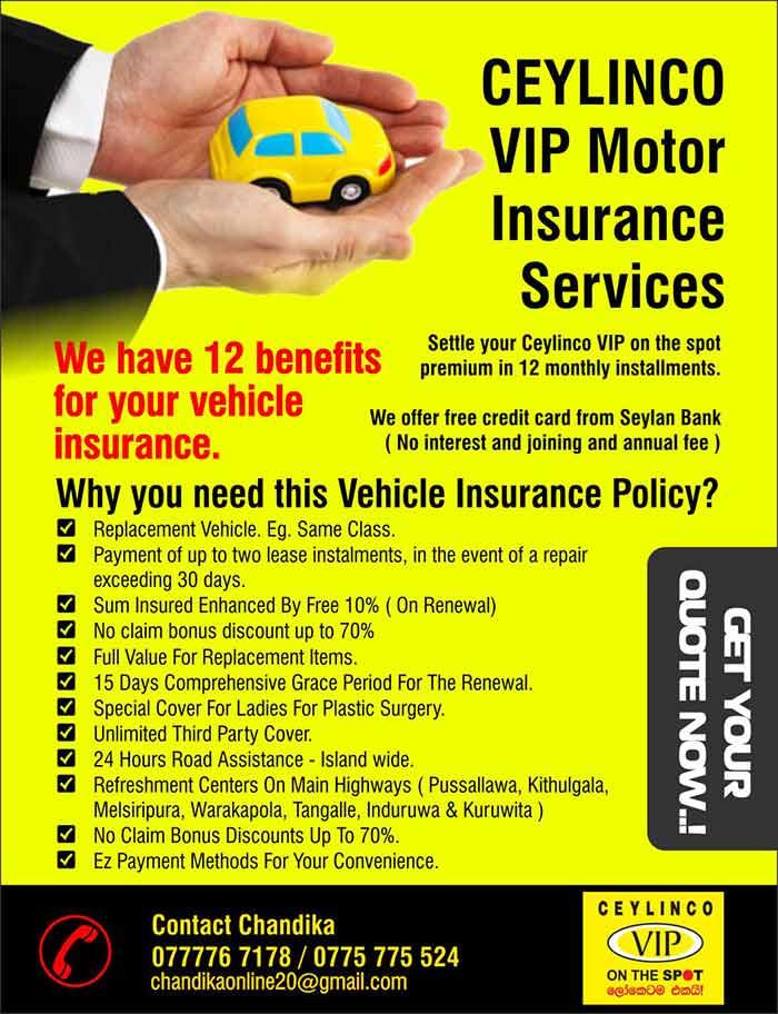 CEYLINCO VIP Motor Insurance Services.