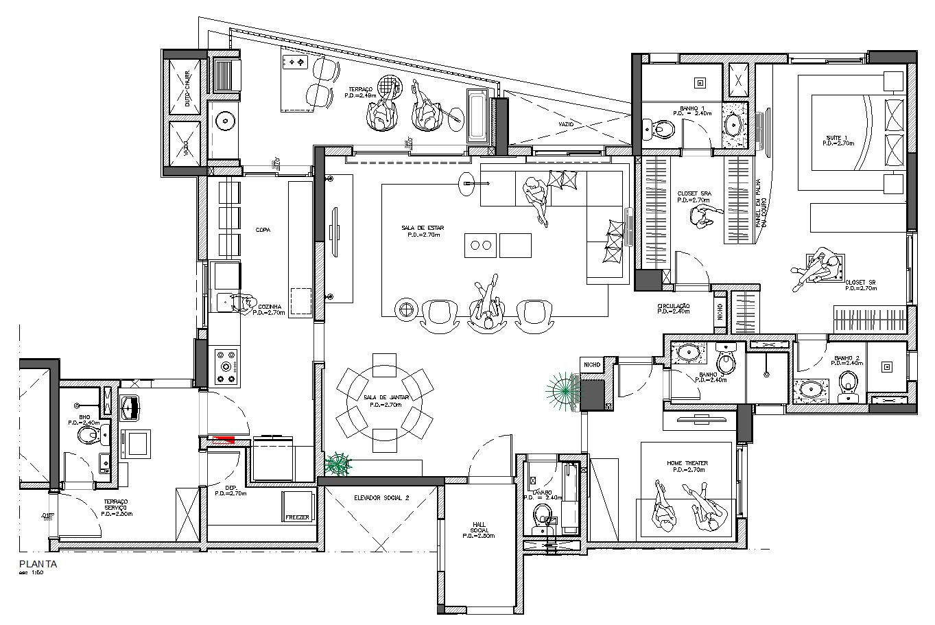 #981516 DecorCAD A7: Planta base padronizando layers e editando blocos  1363x911 px Projeto Cozinha Dwg Download_4167 Imagens