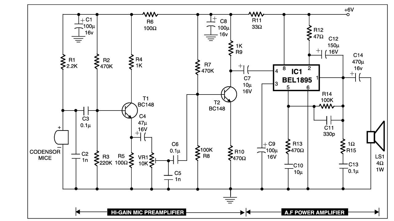 Condenser Mic Audio Amplifire Diy For Electronic Simple Circuit This Is Suitable Lowpower Ham Radio Transmitters To Supply The Necessary Power Modulation With Modifications It Can Also Be