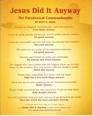 The Paradoxical Commandments by Dr. Kent M. Keith ...