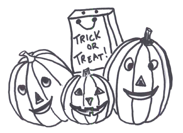 3 Pumpkin Halloween Coloring Pages