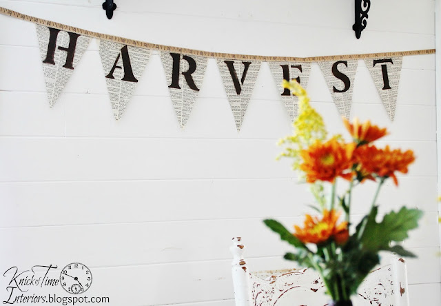 DIY Harvest Book Page Banner | Fall Harvest Party Ideas for Under $20 | www.knickoftime.net