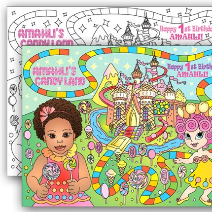 CANDY LAND * Personalized Party coloring page