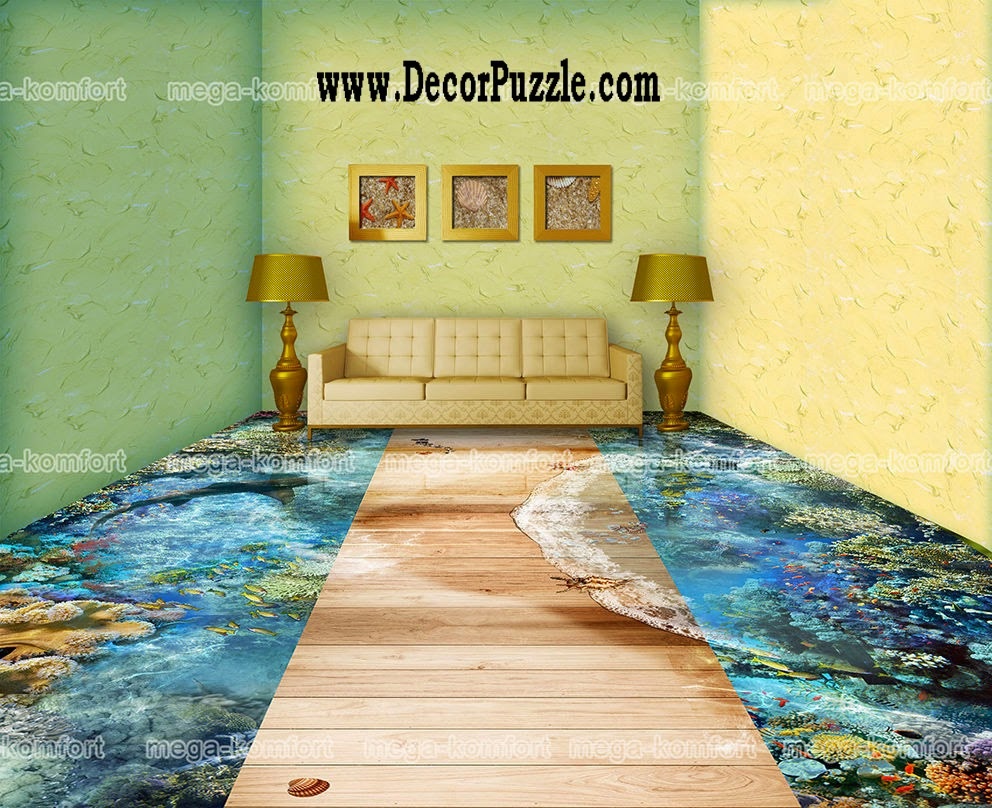 3d floor art and self-leveling floor, living room flooring ideas 2015