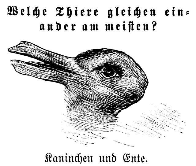 "Translation: Which animals are most like each other? – Rabbit and Duck. Uncredited illustration from Fliegende Blätter, issue #2645 (October 23, 1892). ""What were ducks in the scientist's world before the revolution are rabbits afterwards."" – Thomas Kuhn (1922-1996) The Structure of Scientific Revolutions, chapter 10. The image is a hand-drawn optical illusion. Look at it one way and it appears to be the head of a duck. Another way and the duck's bill becomes rabbit ears and suddenly it becomes a bunny."