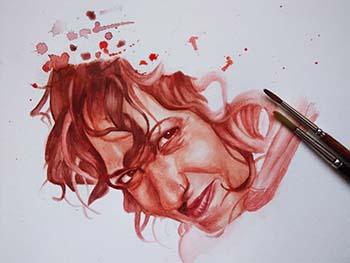 Retrato en acuarela tonos rojos