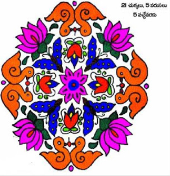 Rangoli Designs For Sankranthi Special Beautiful Latest Easy Colourful
