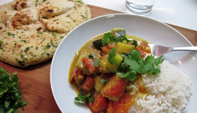 Mild Courgette Fish Curry - A family meal
