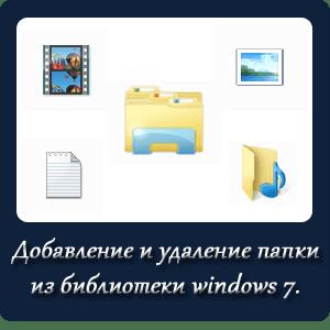 Добавление и удаление папки из библиотеки windows 7.