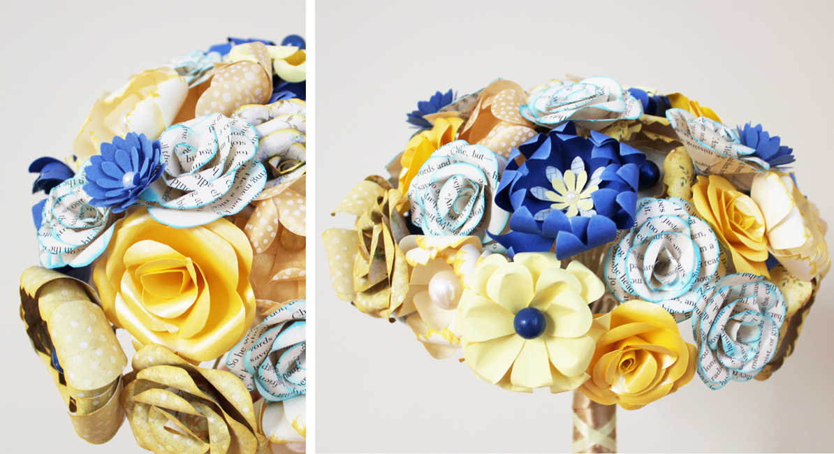 Wedding Bouquets in YELLOW COBALT BLUE and BOOK PAPER