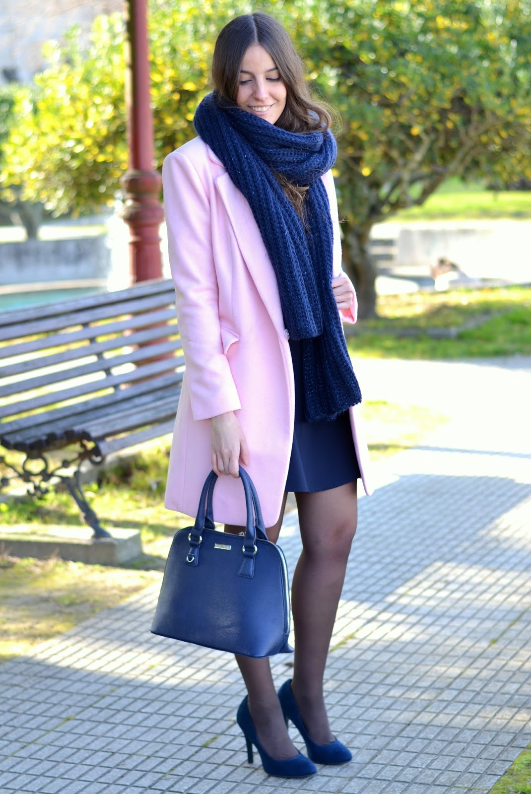 pink coat and blue dress