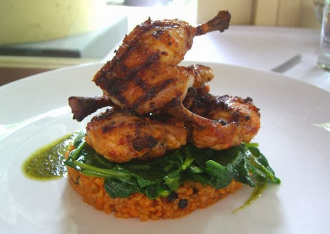 Charcoal Grilled Spicy Chicken with Spinach and Cracked Wheat