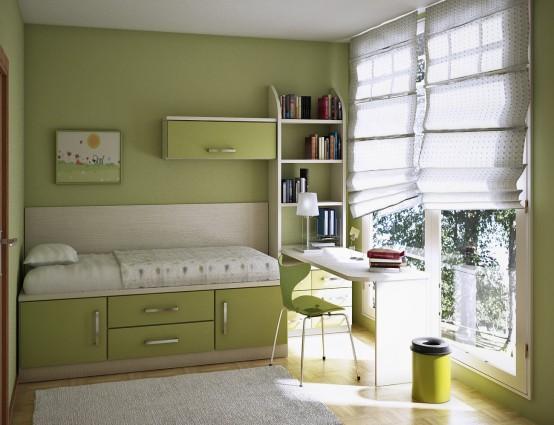 clean teen green dorm room design idea
