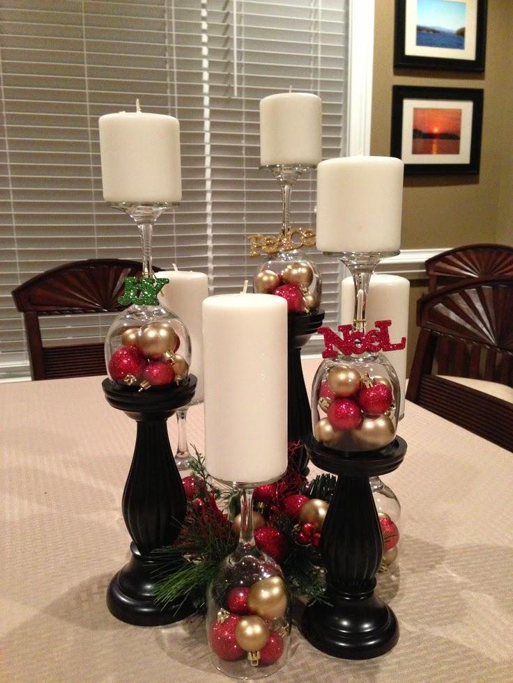 ideas para adornos navideños con copas de vino: adornos de navidad