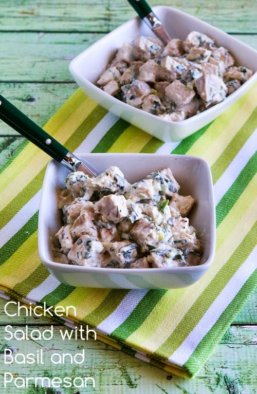 Chicken Salad with Basil and Parmesan found on KalynsKitchen.com