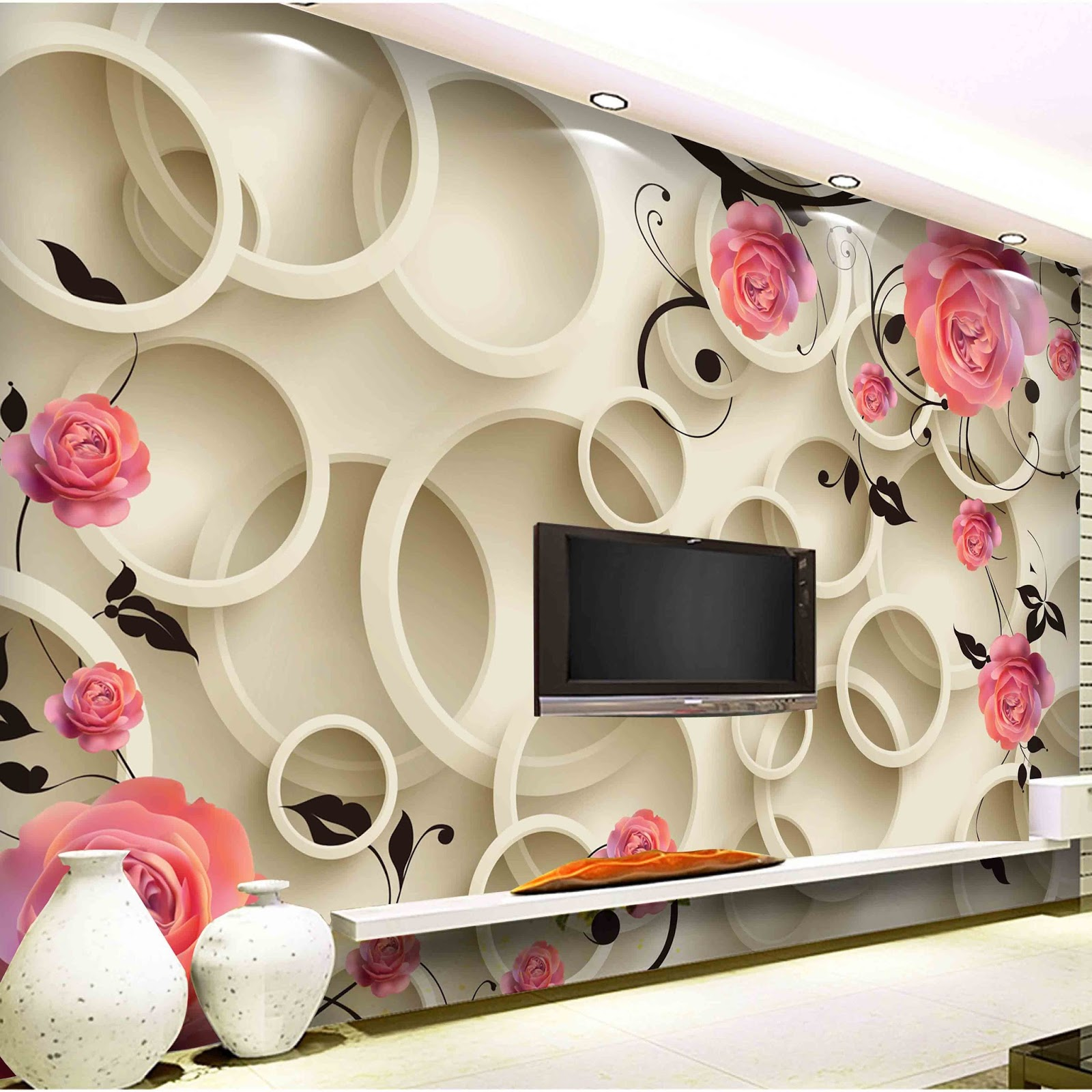 3d wallpaper stickers for tv wall units designs   home interior ...