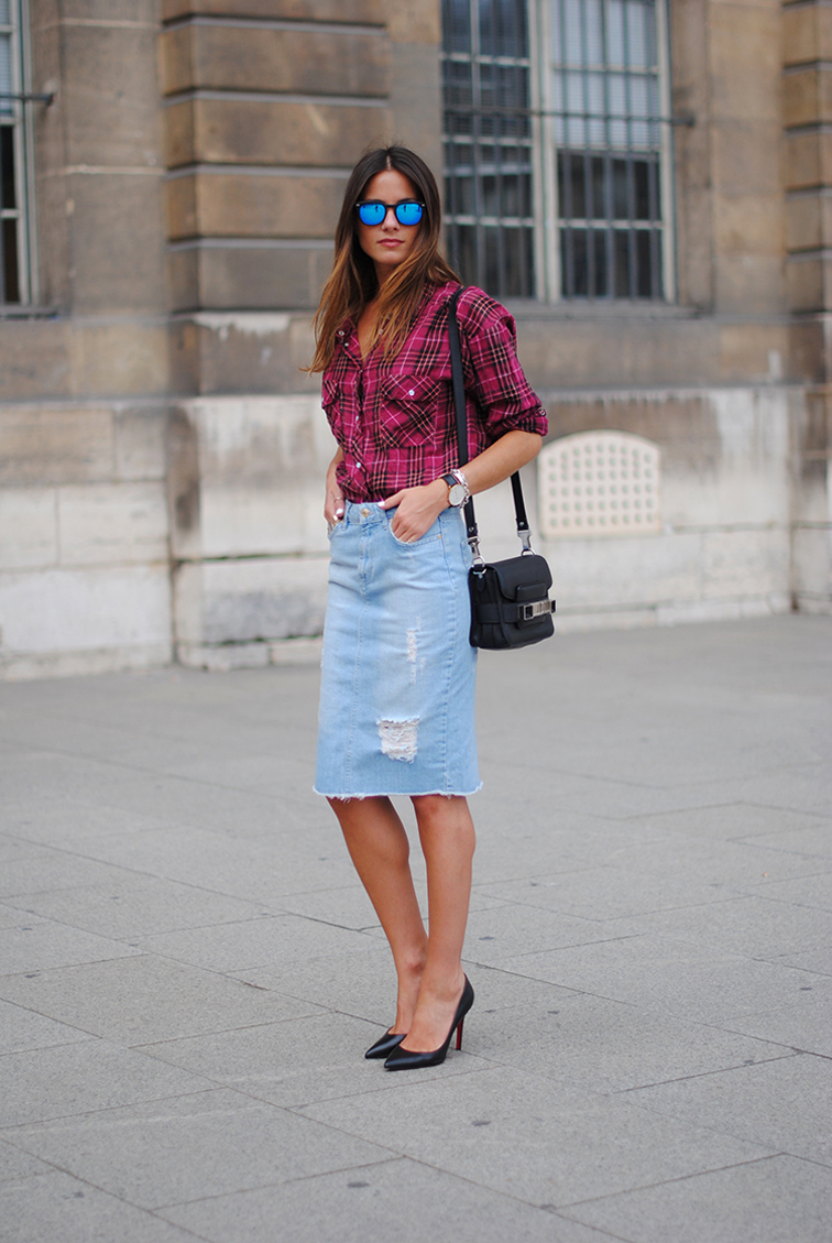 Distressed denim plaid fashion vibe street style proenza schouler bag