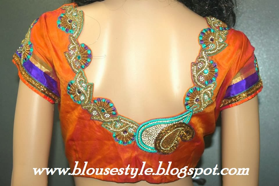 Orange colour designer back neck blouse