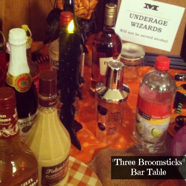 LPF Entertains: Harry Potter Party- Three Broomsticks Bar setup
