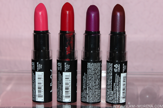 Glam Morena: Swatches #1: NYX Matte Lipsticks.