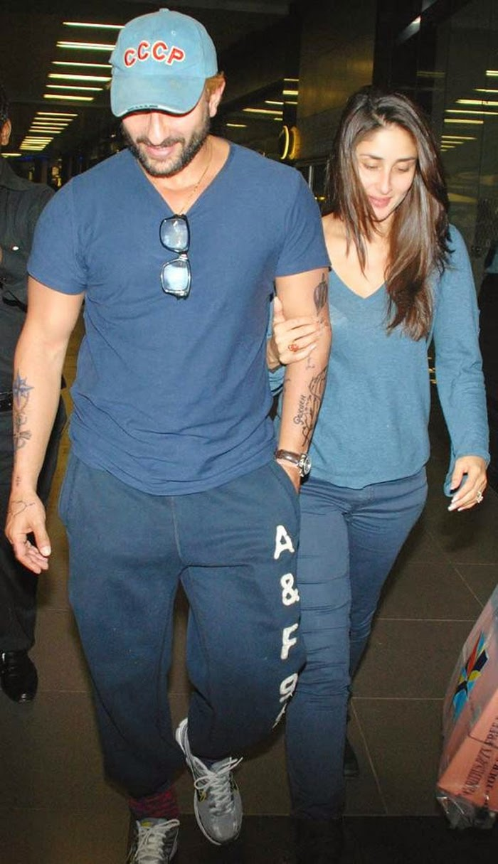 Saif-Kareena latest Hot Pics, Saif Ali Khan & Kareena Kapoor All HD Pics At Airport At Night