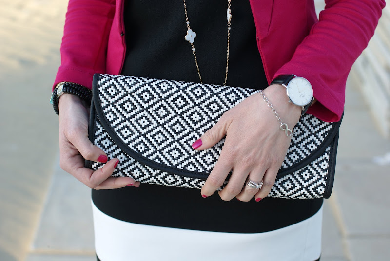 Zara black and white raffia clutch, Tiffany Infinity bracelet, Fashion and Cookies