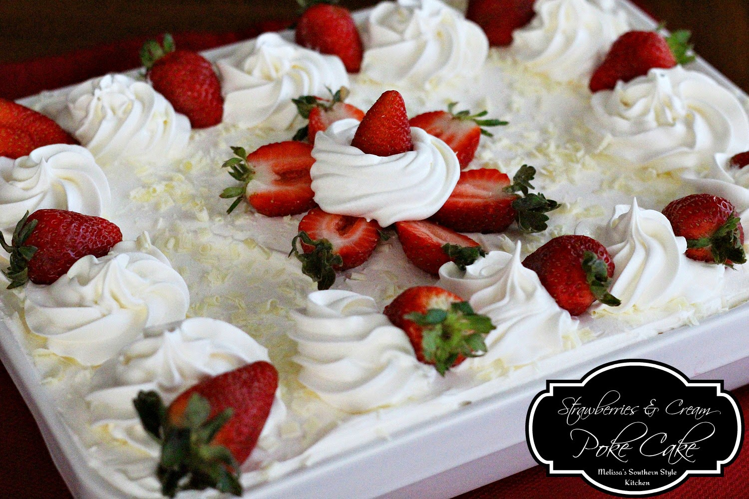 Chocolate Covered Strawberry Poke Cake