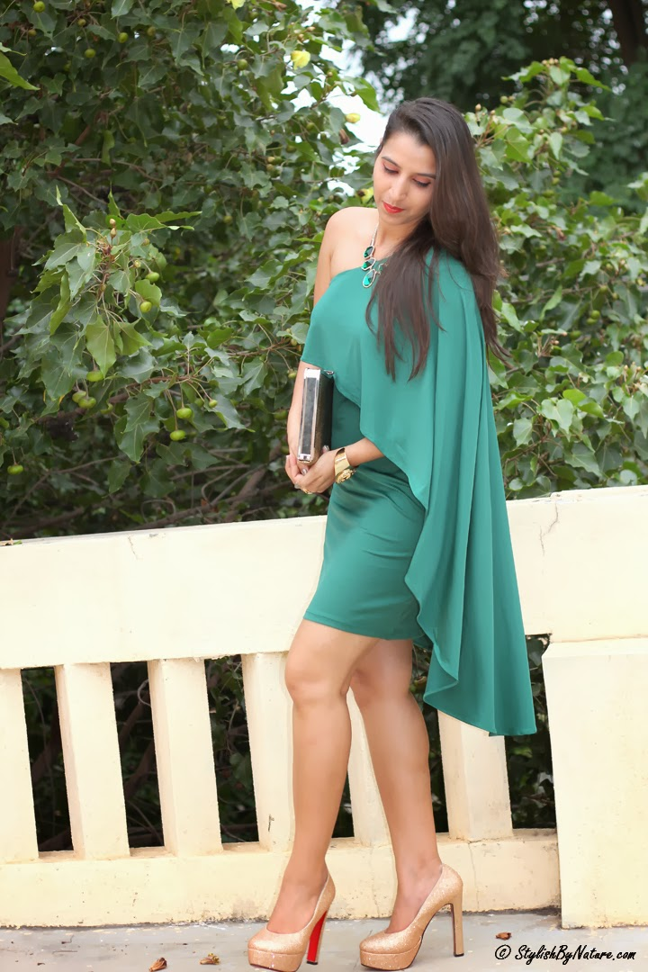 celebrity asymmetrical green dresses