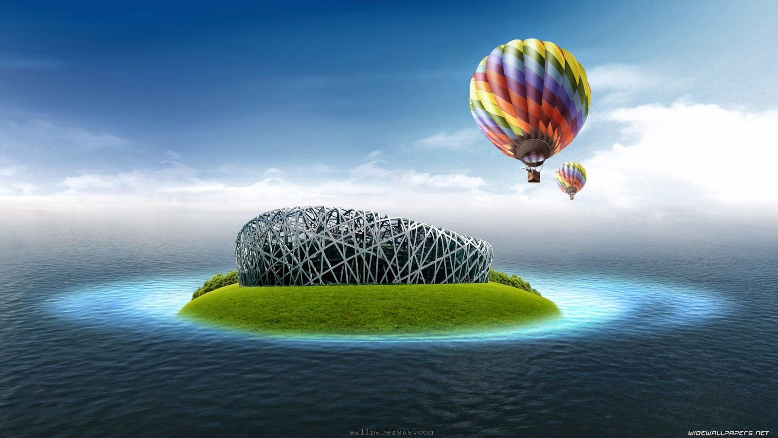 Sea islands digital art hot air balloons wallpapers