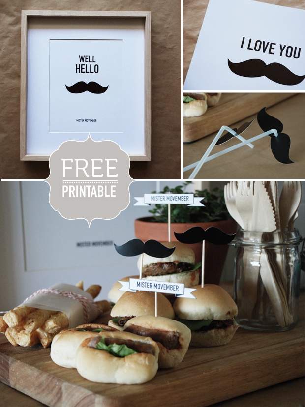Movember Mo Party ideas free printables