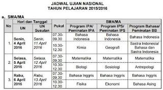 jadwal ujian nasional SMA MA