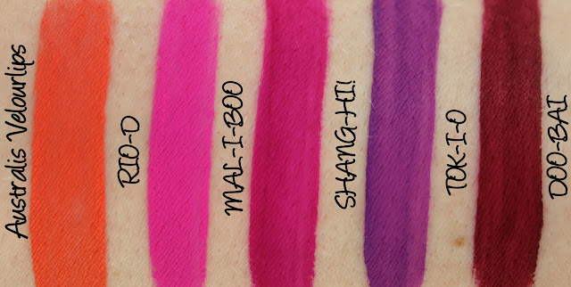 Australis Velourlips Matte Lip Cream - Current Collection Swatches & Review