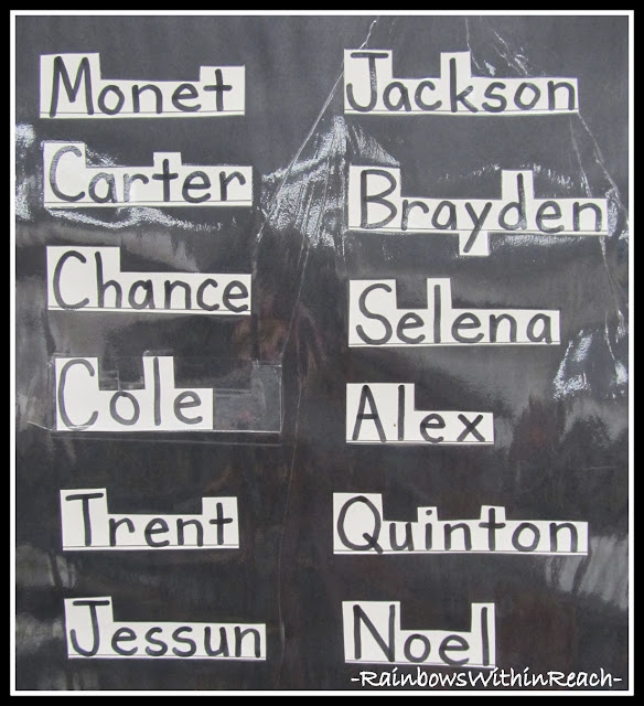 photo of: Classroom Name Chart (emphasis on letter position)