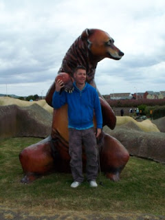 Richard and a BIG Bear at the Fort Fun Adventure Golf Course in Eastbourne