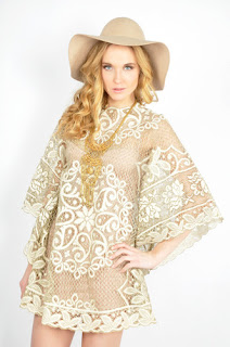 Vintage 1970's nude colored lace mini dress with kimono sleeves.